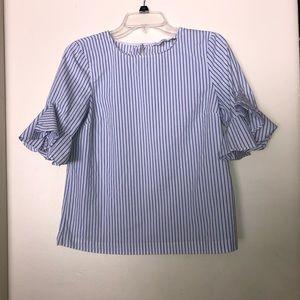 Calvin Klein ruffle sleeve striped blouse